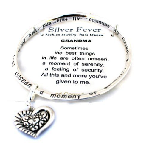 """Valentine Gift for Grandma Grandmother's Heart Charm Silver Bangle GRANDMA Poem Bracelet Holiday Gift Silver Fever. $19.99. Fit for wrists up to 7.4"""" wide. Engraved Inspirational Message. """"GRANDMA. Sometimes the best things in life are often unseen. A moment of serenity, A feeling of security  All this and more you've given me."""". Anti-Tarnish. Polished Silver Plated Finish"""