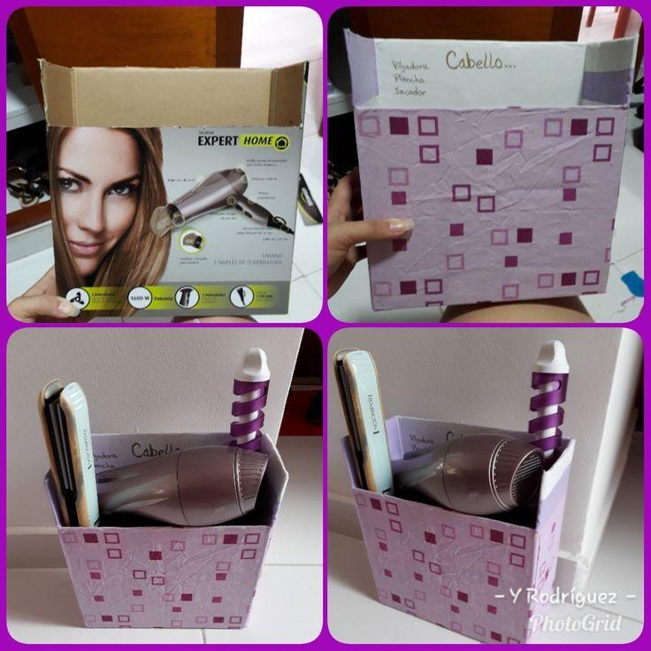 DIY sencillo de caja para organizar herramientas para el cabello como secador, plancha y rizadora