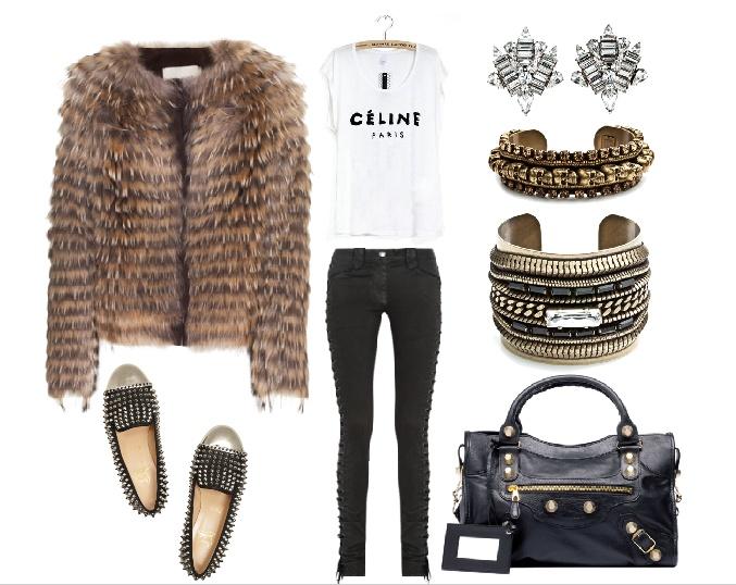 Isabel Marant jeans, Louboutin spike shoes, Balenciaga bag, Céline tee, Yves Salomon Four Marmotte Nature Knit Jacket With Fur, Dannijo jewellry