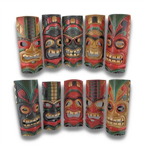 Set of 10 Polynesian Tiki Style Wall Masks 11 Inch