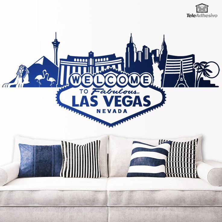 """Vinilo decorativo espectacular del """"Skyline de las Vegas"""" con todos los edificios icónicos de la ciudad y como no con el famoso rótulo """"Welcome to Fabulous Las Vegas, Nevada"""" #teleadhesivo #decoracion #lasvegas"""