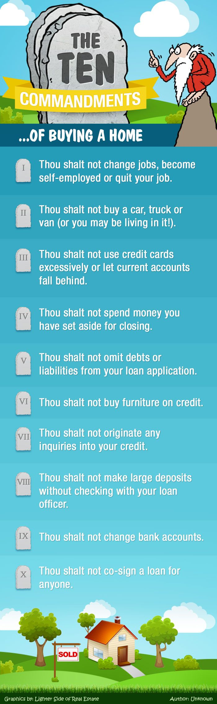 Achieve The Dream Of #HomeOwnership By Following The 10 Commandments Of Buying A #Home. -The Lighter Side Of Real Estate #HomeBuyingTips
