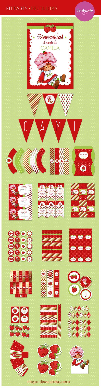 Kit cumpleaños Frutillitas - Kit Party Strawberry - Celebrando Fiestas