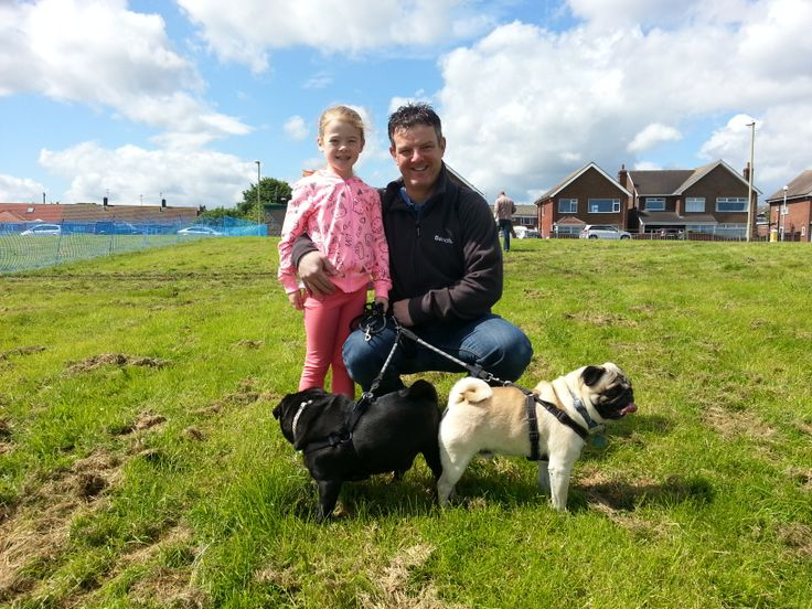 David and Amelia with their pugs Winston and Jasper at Great North Dog Walk 2014, South Shields, South Tyneside.