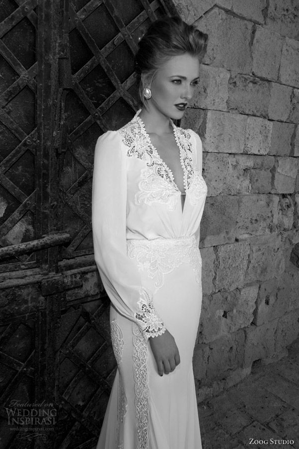 zoog studio bridal 2014 long sleeve wedding dress lace bodice close up...Great details for a winter wedding gown.