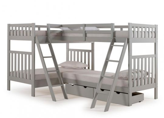 The Aurora Twin Twin Bunk Bed W Quad Bunk Extension Storage