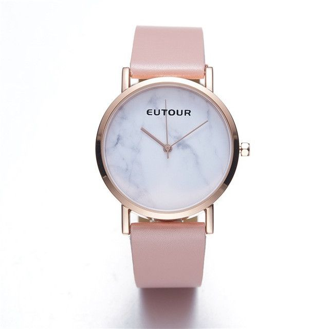 EUTOUR Women Luxury Brand Fashion Analog Quartz Wristwatch rose Gold leather Marble watch 3ATM waterproof Watches Gift Packing
