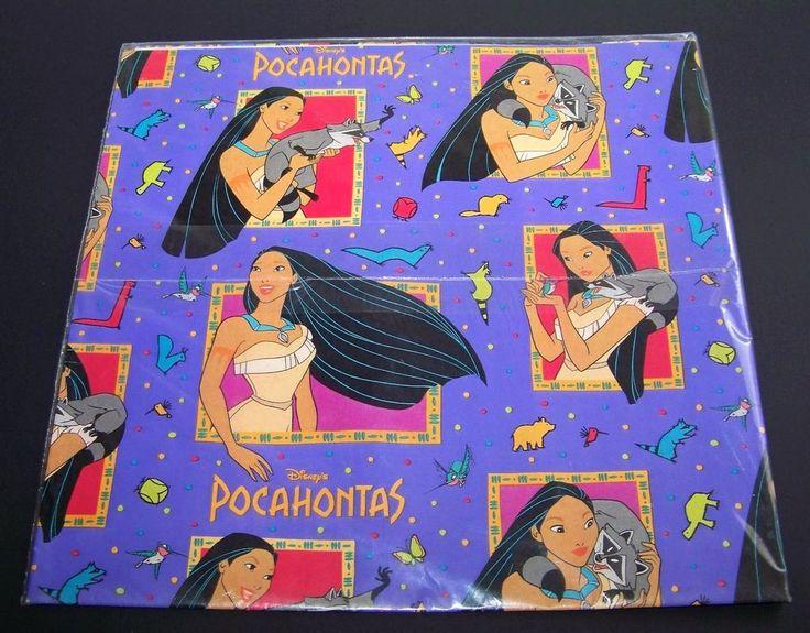 Vintage Disney's Pocahontas Gift Wrap Wrapping Paper Purple Birthday #AmbassadorHallmarkCards