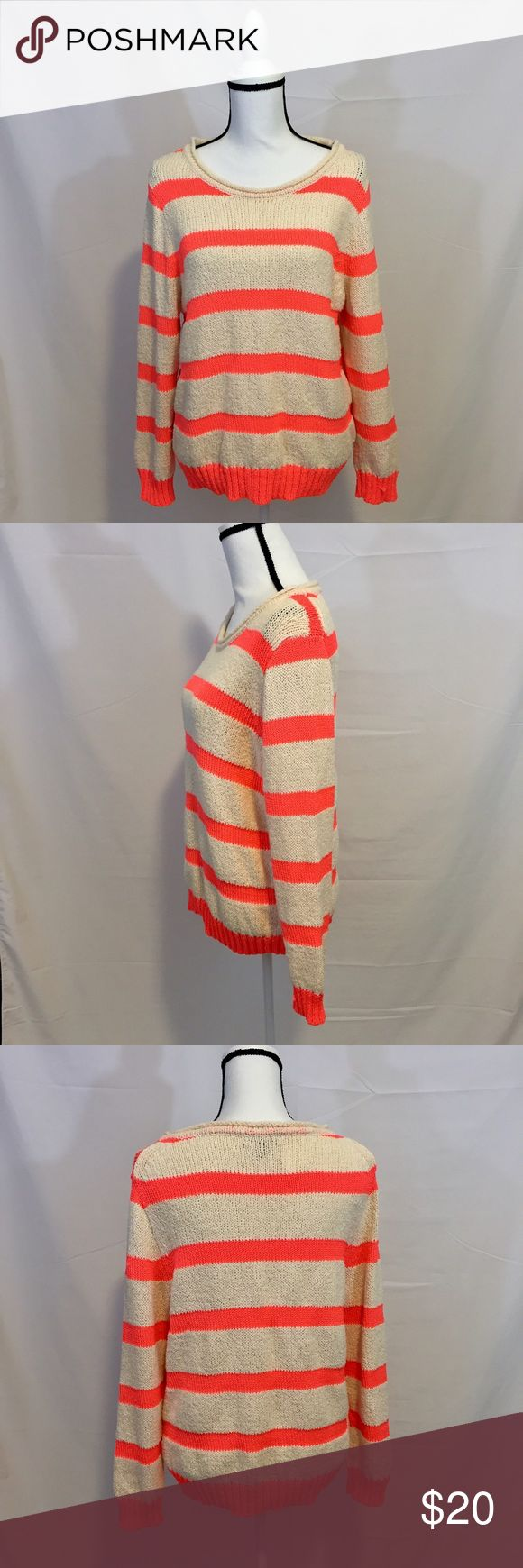 J Crew Hot Pink & Cream Striped Sweater Super cute for spring! It's a lighter weight Knit so pair with white shorts or wear over a swimsuit for the transition into warmer temps. There is a small snag on on the left wrist but other than that it's in great condition. Size XL but could be worn oversized for S-M! J. Crew Tops