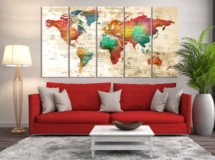 watercolor world map canvas print great design extra large watercolor map wall art push