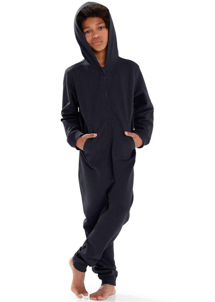 Se nu:Skön overall med kängurufickor, lång dragkedja och luva.