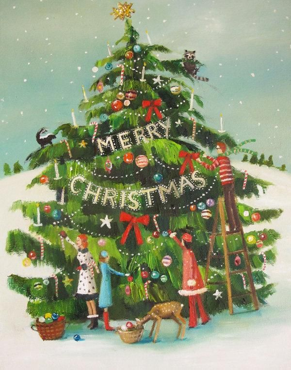 Art Print - Janet Hill - The Peppermint Family Trim the Tree