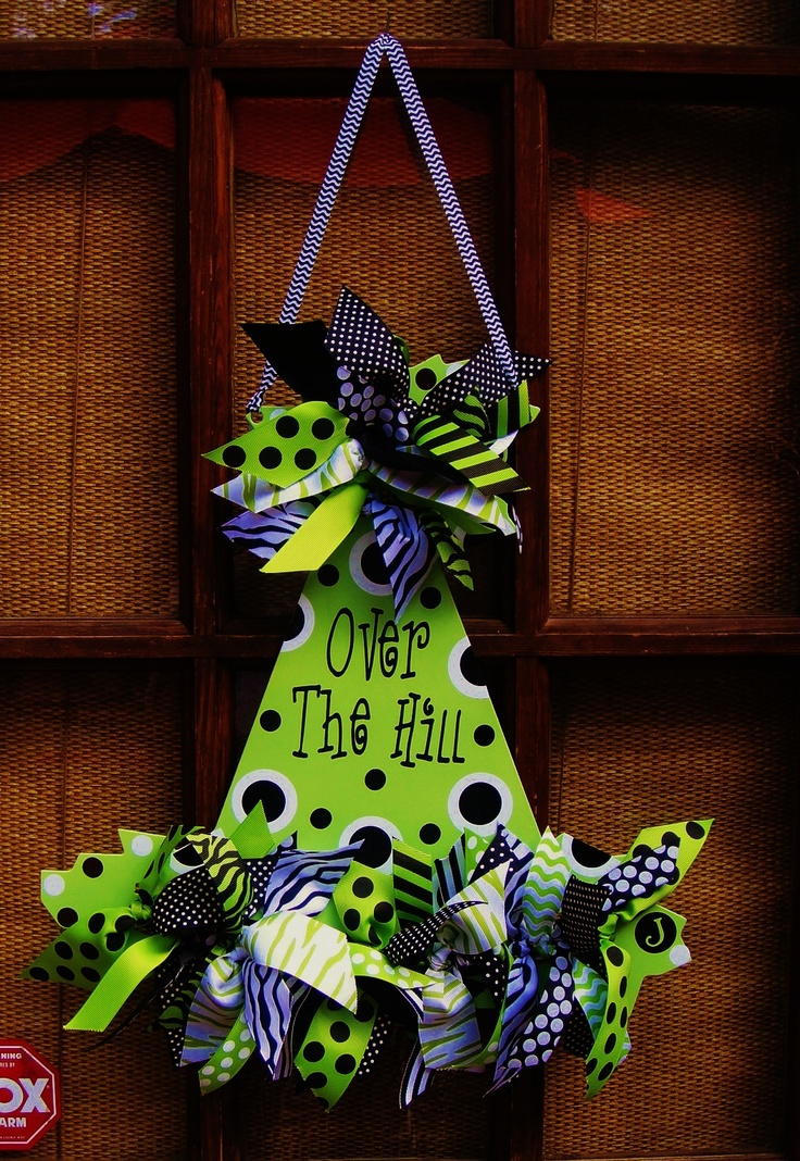 Metal Birthday Hat. This one is lime green, black and white.  Personalized with Over The Hill and yards and yards of coordinating ribbon.  Available at Oh So Adoorable, LLC on facebook!