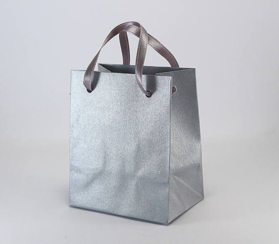 50 Silver Paper Bags  Handmade Extra Small Paper Gift Bags