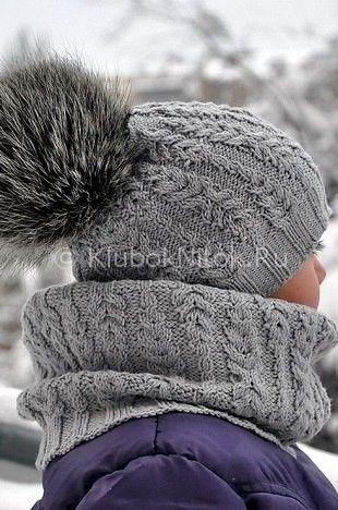 Серая шапочка и снуд | Вязание для детей | Вязание спицами и крючком. Схемы вязания.