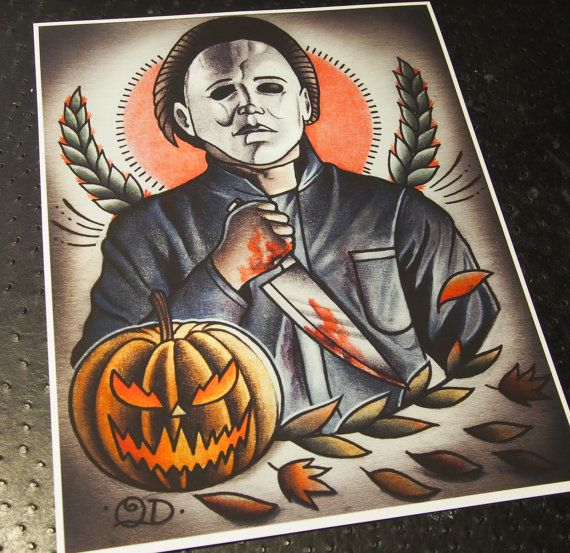 Michael Myers Tattoo Art Print by ParlorTattooPrints on Etsy, $28.00