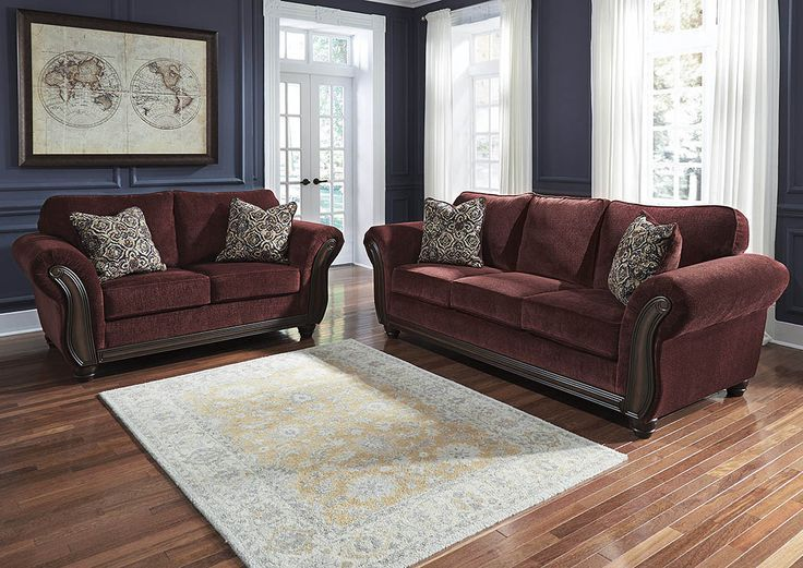Chesterfield Sofa Chesterbrook Burgundy Sofa and Loveseat