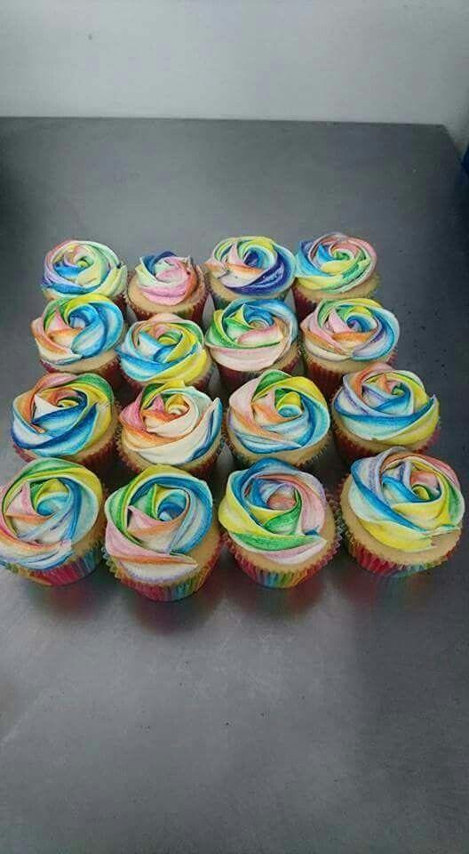 Rainbow swirl birthday cupcakes