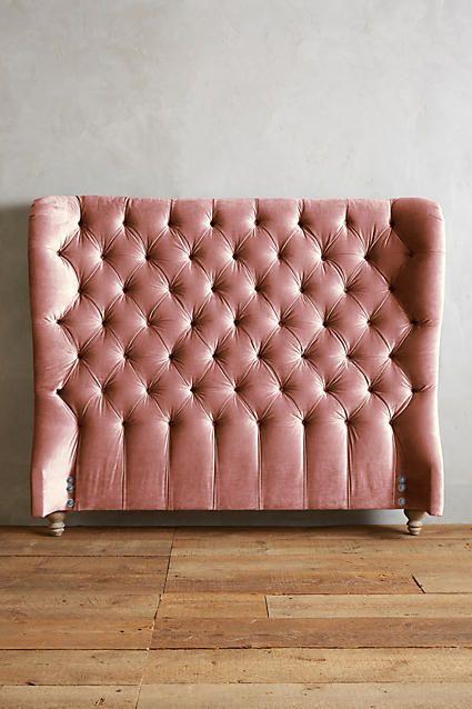 black velvet tufted headboard pink vintage bed