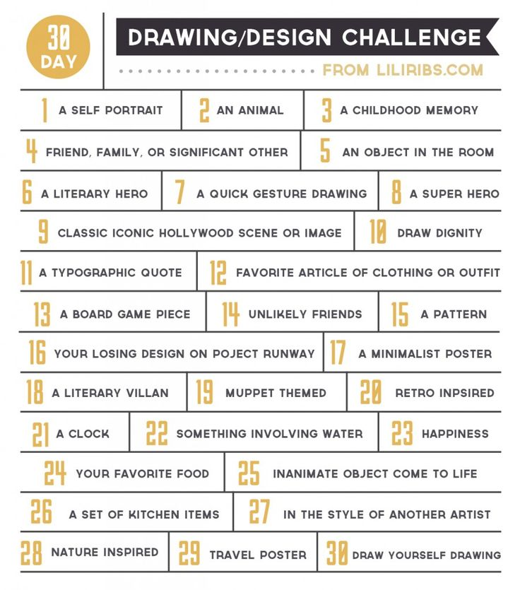 30 day drawing/design challenge:
