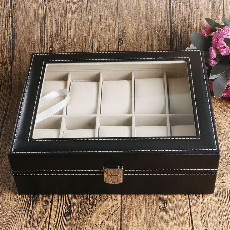 Ювелирные Витрины Организатор Классический Черный Кожаный Коробка Для Часов Пены Pad Высокое Качество Подарочные Коробки каха де reloj