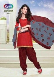 Red Color Elegant & Amazing All New Unstitched Cotton Fabric Gota Patti Work Done Patiala Suit