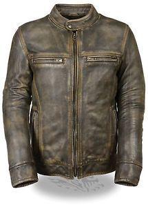 estado del producto new with tags para hombre motocicleta angustiado brown sporty scooter chaqueta de cuero dos pistola