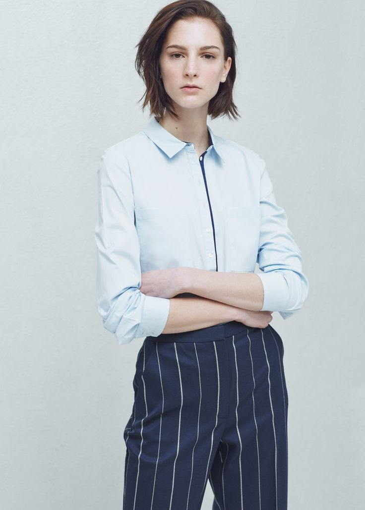 Chest-pocket cotton shirt - Shirts for Woman | MANGO