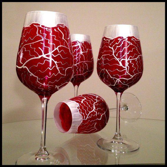 Hand Painted Wine Glasses. Custom Valentine's Day Tudor Flower Abstract Design