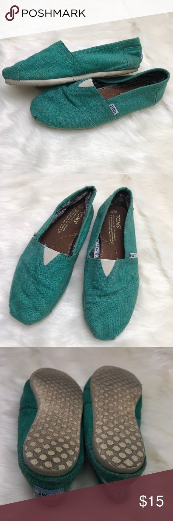 Green TOMS as 7 Women's so 7 TOMS- lightly worn but a lot of life left in them! Toms Shoes Flats & Loafers