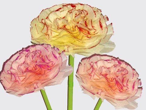 Цветы из бумажных салфеток. 2 вида цветов :: Поделки из бумаги