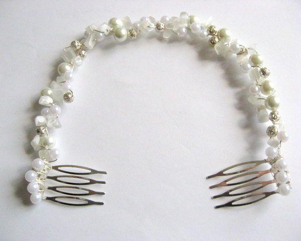 Coronita mireasa nunta, ochi de pisica perle sticla - coronita nunta - idei cadouri femei