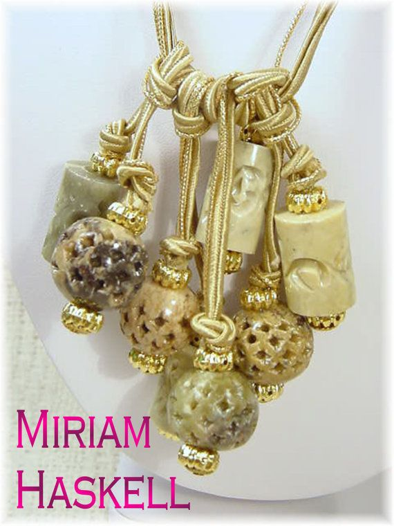 Miriam Haskell  Irish Celtic Carved Marble Cluster Gold & Silk Cord Necklace Frank Hess by FindMeTreasures, $255.00