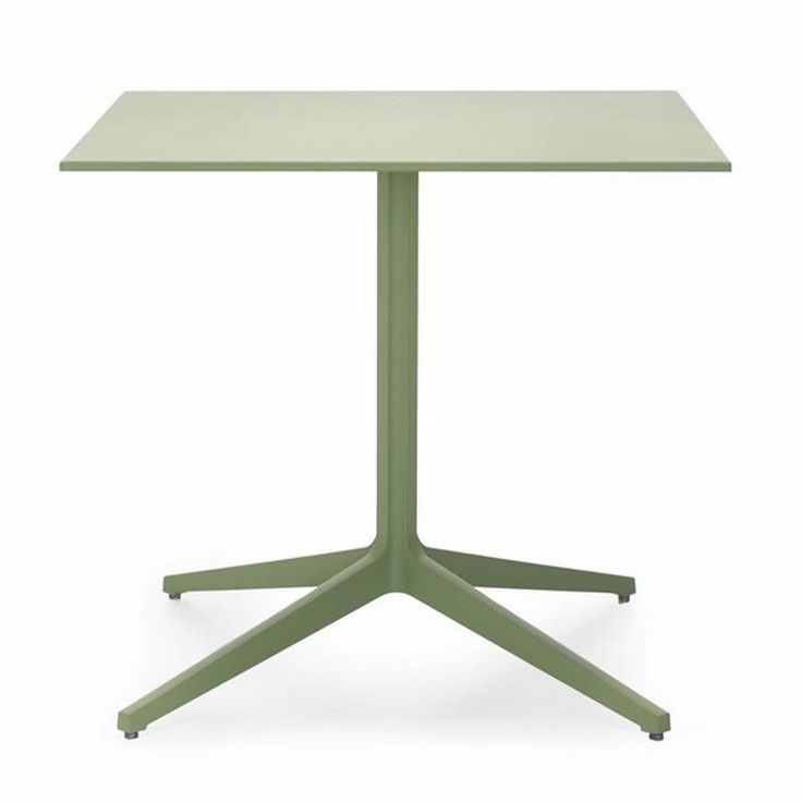 "Ypsilon outdoor table from Pedrali, Italy.  Waterproof mdf top, aluminum legs, overall powercoat in sage green, light blue, orange, or yellow, 31.5"" square $511"