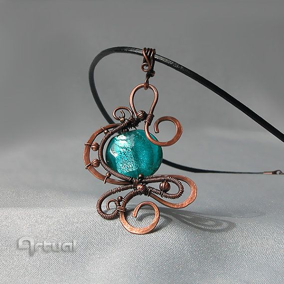 Hammered copper wire pendant with dichroic glass bead, Wire jewelry, Wired pendant, Wired jewelry, Wire wrapped pendant