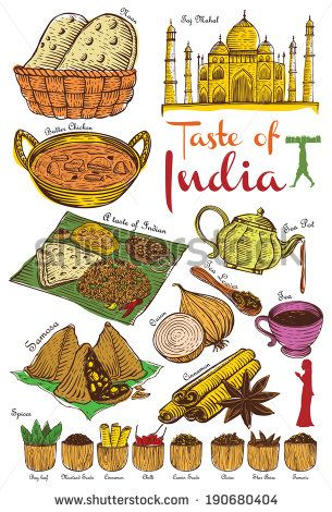 Set of Indian food and ingredients, vector - stock vector