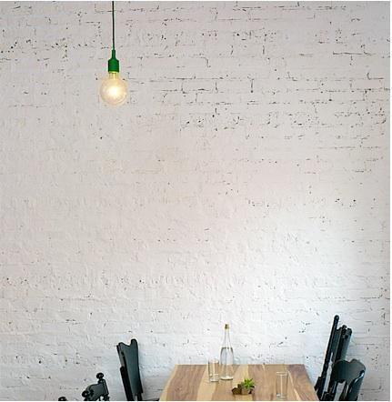 longman & eagleHotels Restaurants, Lights Tables, Bricks Wall, Restaurants Interiors, Brick Walls, Green Lamps, Painting Bricks, Dtla Restaurants, Wall Green