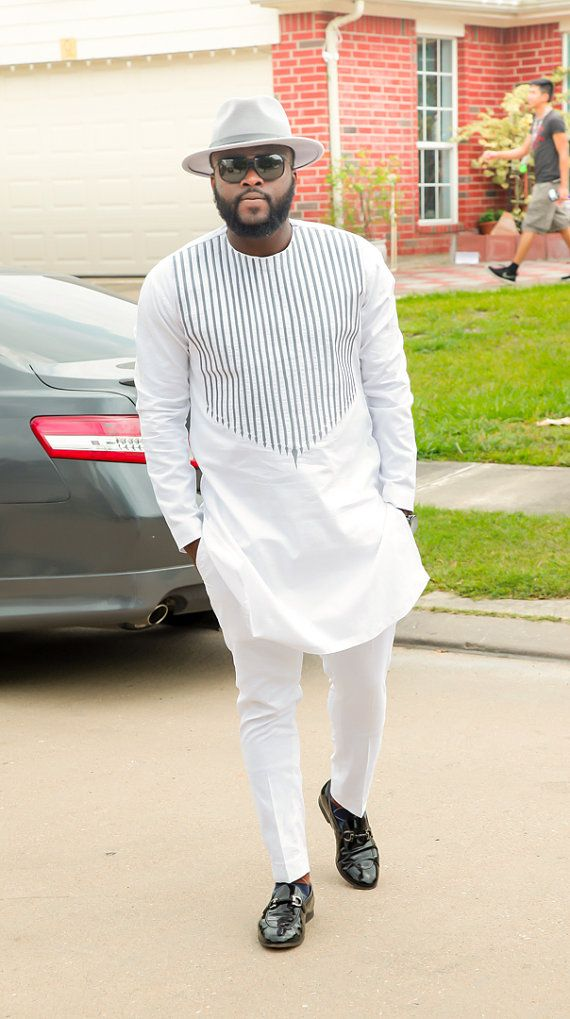 Men's African Wear White with Gray Embroidery by SuccesSexy