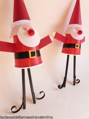 Babbo Natale di bicchieri, cannucce e pirottini (per un party natalizio) - (La classe della maestra Valentina)