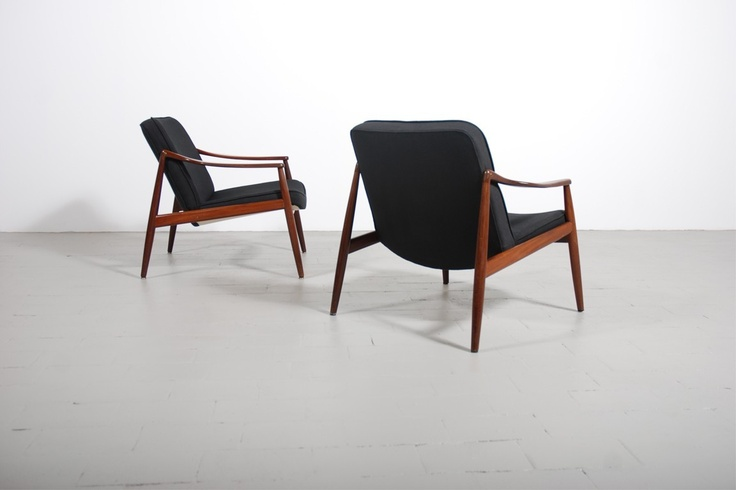 fauteuil vintage scandinave teak tissu 1960 design danois
