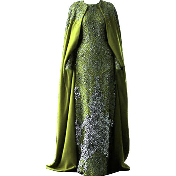 edited/created by dina_s ❤ liked on Polyvore featuring dresses, gowns, green, long dresses, green dress, green ball gown, green gown and green evening gown