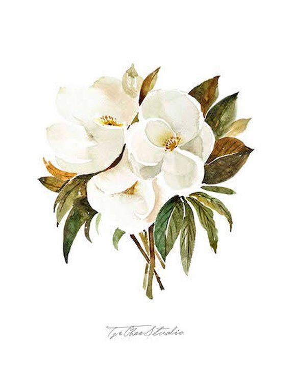 White Magnolia Bouquet Watercolor Painting Peony Flowers Printable Art Original Art Floral Wall In 2020 Floral Wall Art White Magnolia Floral Watercolor