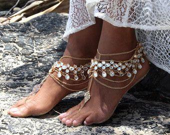 Pies descalzos playa sandalias cristal rebordear por ForeverSoles