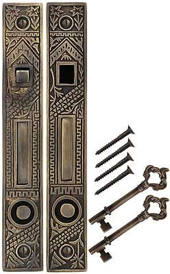 Oriental Bit-Key Double Pocket-Door Mortise Lock Antique-by-Hand  | House of Antique Hardware