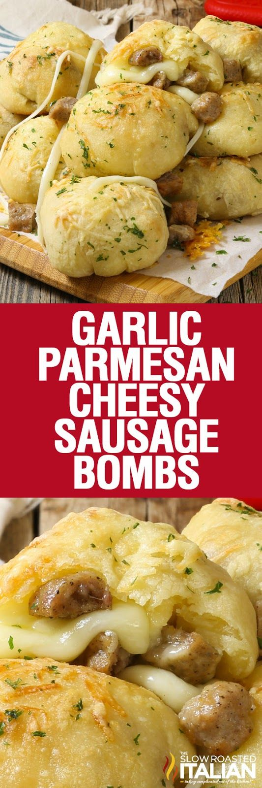 Garlic Parmesan Cheesy Sausage Bombs are soft and tender portable poppers, loaded with ooey gooey mozzarella cheese and scrumptious bites of sausage. Topped with garlic butter and Parmesan cheese breakfast with a simple recipe doesn't get much better than this!