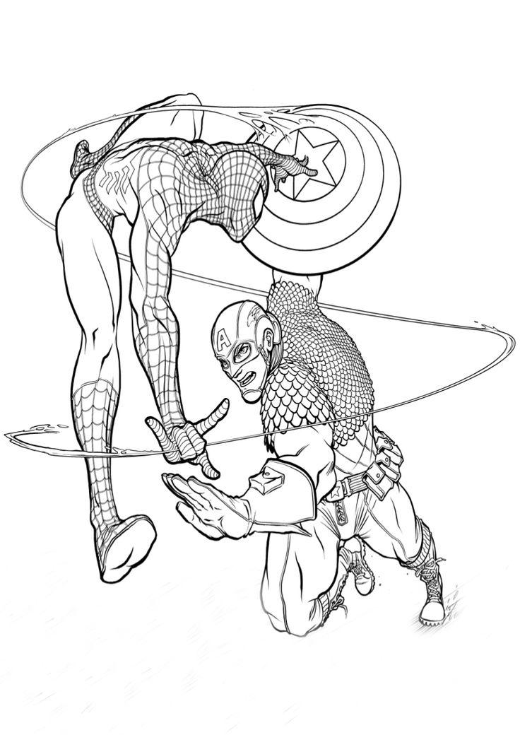 kolorowanka Spider man i Kapitan Ameryka - malowanka dla chłopca nr 8