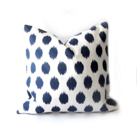 Blue PILLOW COVER Navy Blue Ikat  Pillow-Blue Ikat  Pillow