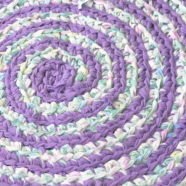 Lilacs in Bloom Crochet Rug by recyclingartistemily: Rag Rugs, Yarn Hand Cut, Crochet Knit Rugs, Crochet Rugs, Bloom Crochet, Thrift Store