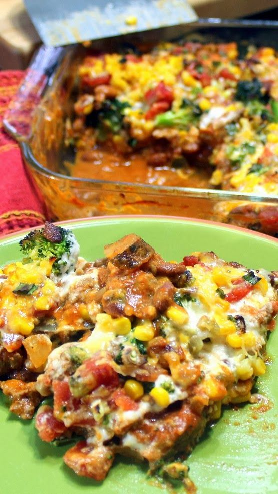 Loaded TWICE BAKED POTATO Casserole  EASILY FREEZABLE.  A base of baked potato slices covered in just about anything you can think of from a baked potato bar... Chili, cheese sauce, even loads of vegetables - Corn, Tomatoes and broccoli.  Plus of course BACON BACON BACON all topped with cheese and green onions.  Freezing instructions included.  Make 2 one for now and one for when you are too busy to cook!  AS GOOD AS IT SOUNDS!