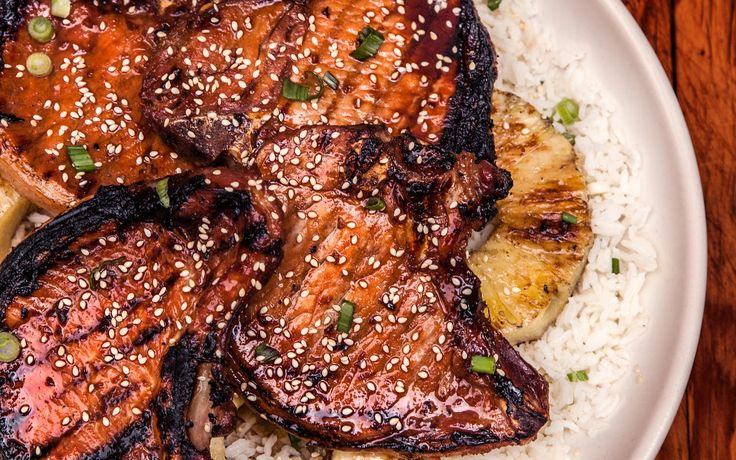 An easy twist on classic teriyaki, with grilled pork chops and fresh pineapple.